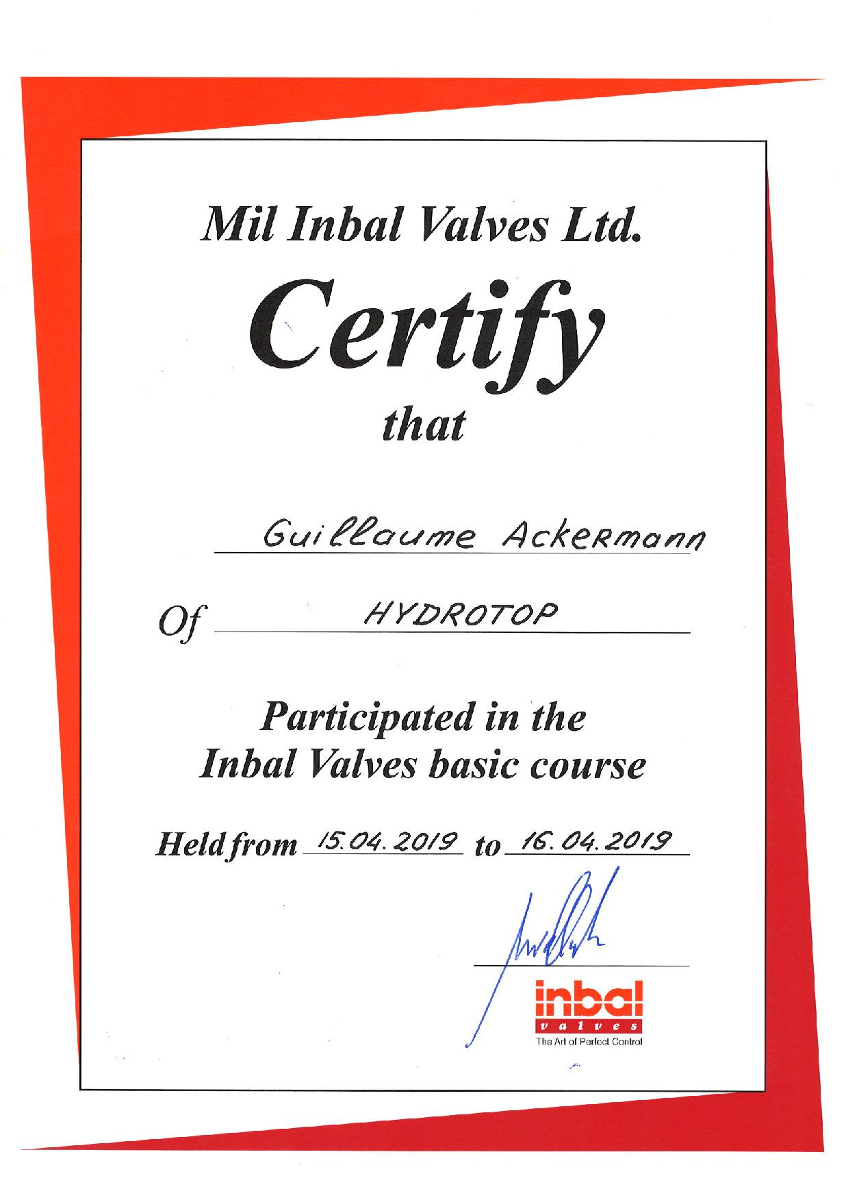 certification Inbal