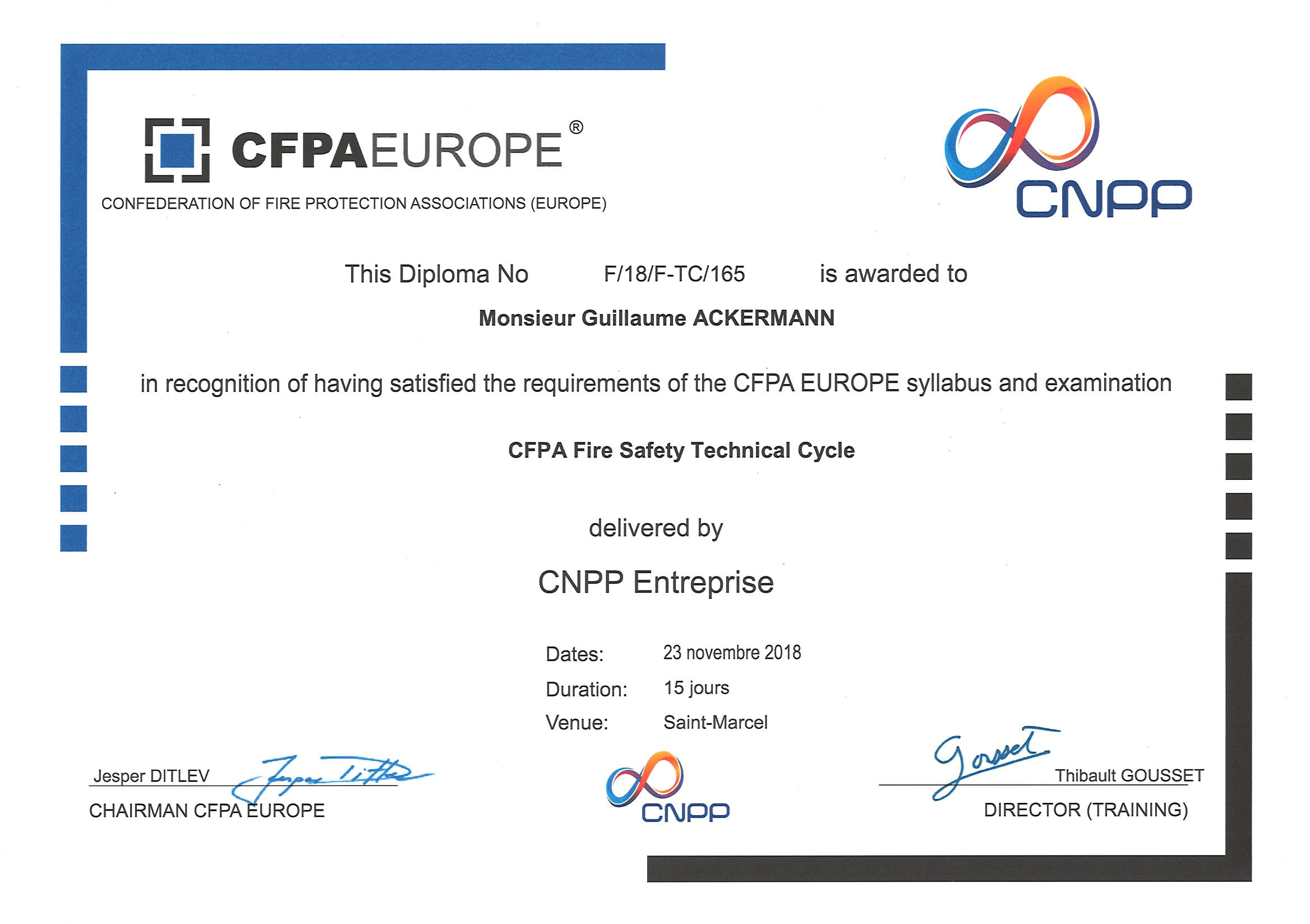 CFPA Fire Safety technical cycle